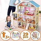 Puppenhaus aus Holz - 4 Spielebenen, mit Möbeln und Zubehör, für 30 cm große Puppen - Puppenvilla, Spielzeughaus, Dollhouse Kinder Spielzeug für Kinderzimmer und Schlafzimmer, für Mädchen und Jungen