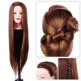 Friseur Übungskopf, Synthetik Haar Farbe Braun für Tischklemme Trainingsköpfe, Frisierkopf mit Langen Haaren Modell Kopf für Friseur Ausbildung Kopf