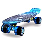 MEKETEC Skateboard 22' inch Kinder Mini Cruiser Retro Skateboard fur Kinder Jungen Jugendliche Anfän (The Starry Sky)