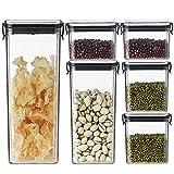 shopwithgreen 6er Vorratsdosen Set für Lebensmittel, Frischhaltedosen mit luftdichtem Deckel,Müsli Schüttdose für Getreide Nüsse Trockenvorräte | BPA Frei & Stapelbar Vorratsbehälter
