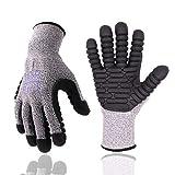 Anti-Vibrationshandschuhe, Schnittwiderstands-Schutz, Schlaghandschuhe mit TPE-beschichteter Handfläche, Mechaniker-Arbeitshandschuhe, EN ISO/ANSI-Standard zertifiziert (groß, grau)