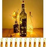 MIFRE10 Stück LED Flaschenlicht, 10 LEDs 1M Kupferdraht Flaschenlichterkette batteriebetriebene Weinflasche Lichter für außen/innen Flasche DIY, Garten, Weihnachten, Hochzeit Party Deko