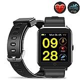 Evershop Fitness Armband Schwimmen IP68 Fitness Tracker wasserdicht, Fitness Uhr mit Herzfrequenzmessung, Kalorienzähler, Schlafmonitor für Android iOS APP auf Deutsch (Schwarz1)