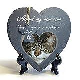 Individueller Personalisiert Herzform und Engel Tiergrabstein Schiefer Gedenkstein + Ständer für Hund, Katze und andere Haustiere Tiere - Größe | 25 x 25 cm | - Foto