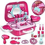 SPECOOL Rollenspiel Spielzeug Schminkset kinderfön 2 in 1 Set mit Vielen Zubehör für Mädchen Prinzessin 3 Jahre alt