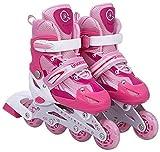 Tante Tina Kinderinliner größenverstellbar mit leuchtenden Rollen - Inlineskates für Kinder verstellbar in 4 Größen - Rosa - Größe L (39-42)