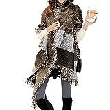 FENTI Damen Maedchen Langer Schal 250cm*65cm Deckenstoffschaln Schalcape Winter Schal mit Fransen und spitzen Enden XXL Kaffee und Grau