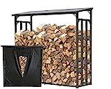 QUICK STAR Metall Kaminholzregal Anthrazit XXL 185 x 70 x 185 cm Garten Kaminholzunterstand 2,3 m³ Stapelhilfe Aussen mit Wetterschutz Schwarz