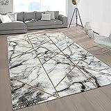 Paco Home Wohnzimmer-Teppiche Grau Gold Weich Marmor Optik Kurzflor mit vers. Designs, Grösse:80x150 cm, Farbe:Gold 4