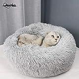 Queta Katzenbett Schöne Tierbett, Klein Hund Bett Haustierbett Plüsch Weich Runden Katze Schlafen Bett (50cm Durchmesser Hellgrau)