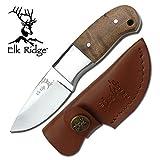 Elk Ridge Mini Hunter Blatt-Jagd-Messer Griff Wurzelholz + Lederscheide ER-111