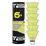 Talbot-Torro Tech 450 Badmintonbälle - 6er Dose, verschiedene Farben/Geschwindigkeiten wählbar (weiß/gelb, Geschwindigkeiten: langsam, mittel, schnell), Premium-Nylonfederball für Indoor & Outdoor
