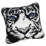 FLAMEER 1 Set Knüpfkissen-Kits Deko-Kissenbezug selber Kissen Knüpfen für Kinder und Erwachsene- Tier Muster Auswählbar - Tiger White