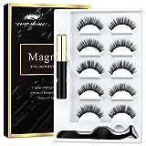 AOVSHEY Magnetische Wimpern Magnetic Eyeliner 5 Magnete Wimpern Mit Wasserdichtem Langlebigem Magnetic Eyeliner Wiederverwendbare Falsche Magnetic Eyelashes