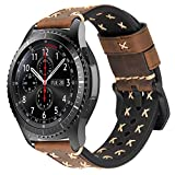 iBazal Gear S3 Frontier Classic Armband Leder Armbänder Uhrenarmband 22mm Lederband Ersatz für Samsung Galaxy 46mm SM-R805/800,Huawei GT/Honor Magic/2 Classic,Ticwatch Pro Herren Uhr Band - Kaffee