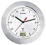Bresser MyTime Bath Bad Wanduhr mit Temperaturanzeige und Funkuhr mit gebürstetem Aluminiumrahmen, Saugnäpfen und Standfuß für Tischmontage, weiß/silber