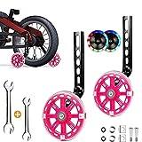 Sunshine smile Bike Training Räder,stützräder für kinderfahrrad,Fahrrad Stützräder für Kinder,Universal Kinder Stützräder,auf 16-22 Zoll-Fahrräder. (Blitz-Dunkelrosa)