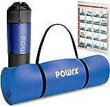 POWRX Gymnastikmatte Premium inkl. Trageband + Tasche + Übungsposter GRATIS I Hautfreundliche Fitnessmatte Phthalatfrei 190 x 60, 80 oder 100 x 1.5 cm (Dunkelblau, 190 x 100 x 1.5 cm)