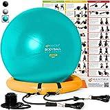 Gymnastikballstuhl - 55cm / 65cm / 75cm Yoga Fitness Pilates Ball & Stabilitätsbasis für Heimgymnastik & Büro - Widerstandsbänder, Trainingsplakat & Pumpe. Verbessern Sie Gleichgewicht & Haltung