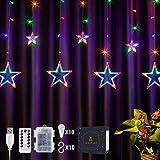 DazSpirit LED Lichtervorhang Weihnachten Sterne 2,5m mit Fernbedienung und 20 Haken - USB oder Batteriebetrieben, 8 Modi, Premium-Geschenkbox, Wasserdicht, Drinnen und Draußen (Bunt)