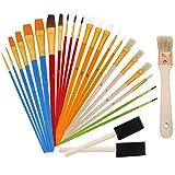 ISIYINER Malen Pinsel Set Künstlerpinsel Premium Nylon Pinsel Aquarell Acryl Flachpinsel Ölmalpinsel für Anfänger Kinder Künstler Gemälde 25 Stück