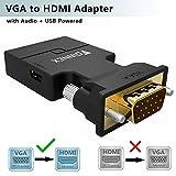 VGA auf HDMI Adapter mit Audio (Alter PC zu TV/Monitor mit HDMI),FOINNEX Aktiv VGA Buchse to HDMI Stecker TV Konverter/Wandler für Computer,Beamer mit Audio Kabel, Männlich to Weiblich,1080P