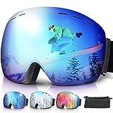amzdeal Skibrille, Snowboard Brille Schneebrille mit Doppel-Objektiv Anti-Fog UV400 Schutz OTG für Brillenträger und Helmkompatible für Damen und Herren (Blau)