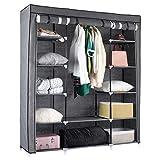 Kleiderschrank Stoffschrank Faltschrank 150 x 175 x 45 cm Kleiderstange 25kg Campingkleiderschrank - mit Reißverschlüssen und verstärkter Kleiderstange - einfaches Zusammenstecken - Vlies in grau