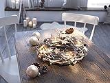Dekoleidenschaft Tischkranz weiß/Silber, mit 4 Glas Windlichtern, Adventskranz, Teelichthalter
