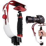 AFUNTA Pro Tragbare Kamera-Stabilizer-Steady (geeignet für DSLR Kameras bis zu 2,1 lbs) rot-silber-schwarz