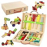 Symiu Hölzerner Werkzeugkasten-Koffer täuschen Rollenspiel-Tischler-Versammlung vor, BAU-Spielwaren für Kinder auseinanderzunehmen