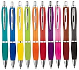 Libetui 10-er Pack Kugelschreiber rutschfeste Griffzone Großraumine Gehäuse in trendigen 10 Farben Druckkugelschreiber Mehrfarbig blauschreibend