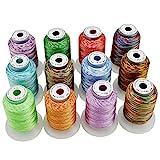 New brothread 12 Multi Farben Polyester Maschinen Stickgarn 500M (550Y) für Brother/Janome/Singer/Babylock/Kenmore/Pfaff/Bernina/Husqvaran Stickereimaschine