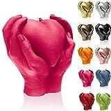 Candellana Kerze Herz Hand | Höhe: 16 cm | Dunkelrosa | Brennzeit 35h | Kerzengröße gleicht 1:1 einer realen Hand | Handgemacht in der EU