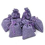 Quertee 8 x Lavendelsäckchen Leinen | Duftsäckchen mit je 15 g (120 g insgesamt) echtem französischen Lavendel als Mottenschutz - Violette Leinensäckchen gefüllt mit Lavendelblüten aus Frankreich