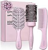 Öko Haarbürsten Set für Frauen und Mädchen – Paddelbürste, Rundbürste und Kamm – nachhaltiges Geschenk von Lily England (Pink)