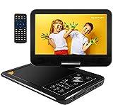 APEMAN Tragbar DVD Player Auto 9,5'' mit 5 Stunden Akku Mobiler DVD Player Potable Drehbarer Unterstützt SD/USB/AV Out/IN Spiele Joystick (schwarz)