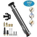 HZONE Fahrradpumpe, Mini-Fahrradpumpe mit 3 Ventilen (SV/DV/AV mit Dichtring), 160 PSI Hochdruck-Handpumpe für Standluftpumpe, Standpumpe für Mountainbike/Renn- / Hybridrad/Kinderrad/BMX