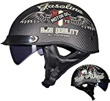 Motorradhalbhelm, Retro-Carbon-Jethelm ECE/DOT-Zertifizierung Unisex Cruiser Chopper Jet Helm Skateboard Fahrrad Antikollisionsschutzhelm (XXL=(63~64cm), G)