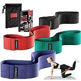 Fitnessband Set - 4x Loop Textil Resistance Widerstandsband + Trainings-eBook | Stoff Gymnastikband, Fitness Sport Workout Krafttraining Band elastisch | Trainingsband Sportband Miniband Crossfit Yoga