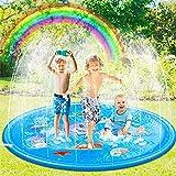 Pulchram Splash Pad 170cm,Sprinkler Splash Play Matte,Splash Spielmatte Sprinkler Wasserspielmatte,Wasserspielzeug Garten für Kinder,Hund und Haustiere (Blau)