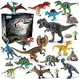 BeebeeRun 21PCS Dinosaurier Spielzeug Set,Realistische Dinosaurier Figuren Modell für Kinder Jungen Mädchen,Spielzeug 3 Jahren Junge,14 Dinosaurier + 2 Bäume+ 4 Steingarten + 1 Karte,Party Dekoration