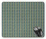 Trellis Mouse Pad, vereinfachtes Bambusrohr Doodle Style Dschungelzellengitter Hellgelb Anthrazit Grau Schieferblau Mauspad