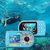 Digitalkamera, Fotoapparat Unterwasserkamera 1080P FHD 16-facher Digitalzoom Unterwassersportkamera fotokamera mit 2,7 und 2,0 Zoll Dual-Screen-Camcorder Wasserdicht kleine Jugend Student Camcorder