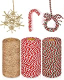 KAHEIGN 3Pcs Weihnachts-Garn Weihnachten Juteschnur und Baumwollschnur, 100m Rot Weiß Grün Bastelschnur für Geschenkverpackungen und Weihnachten Basteln