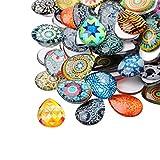 PandaHall 100 Stück Mosaik Gedruckt Wassertropfen Halbrund Kuppel Glascabochons Gemischte Farbe Größe 25x18x5mm