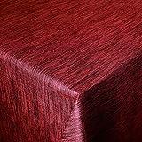 DecoHomeTextil Wachstuch Wachstischdecke Tischdecke Gartentischdecke Leinen Prägung Rot Eckig 100 x 140 cm abwaschbar gefaltet