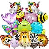 Balloono 15x Tiere Folienballon Set für Kindergeburtstag, Luftballons Dschungel Safari Tiere Ballon