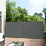 Pro-Tec Doppelte Seitenmarkise 2 x 300 x 180 cm Grau Sichtschutz Markise Sonnen- & Windschutz