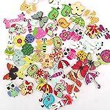 Doitsa Knöpfe aus Naturholz Holzknöpfe Karikatur Tier Blumen Knöpfe Für Nähen Und Basteln Handwerk 50 Stück
